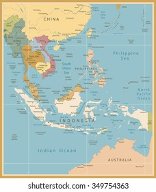 Southeast Asia Map Detailed Vintage Colors.All elements are separated in editable layers clearly labeled.