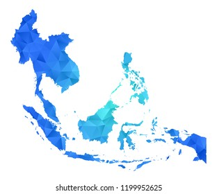southeast asia map in geometric blue polygonal style modern design on white background. Vector illustration.