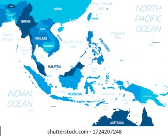 Southeast Asia map - green hue colored on dark background. High detailed political map of southeastern region with country, capital, ocean and sea names labeling.