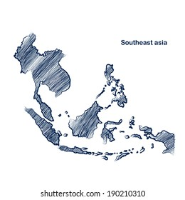 Southeast asia  map hand drawn background vector,illustration