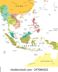 Southeast Asia - map - illustration