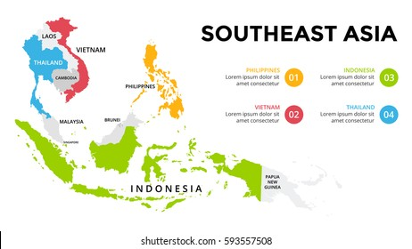 Southeast Asia map infographic. Slide presentation. Global business marketing concept. Color country. World transportation data. Economic statistic template.
