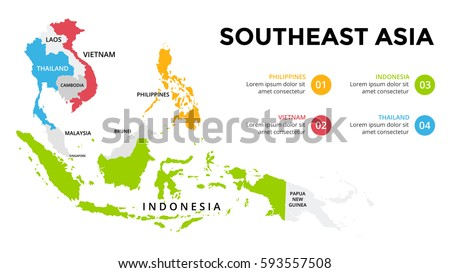 Southeast Asia Map Infographic Slide Presentation Stock Vector