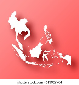Southeast Asia Map isolated on red background with shadow. High detailed vector map.  Template for your design, website, infographic, brochure, cover, business annual report,...