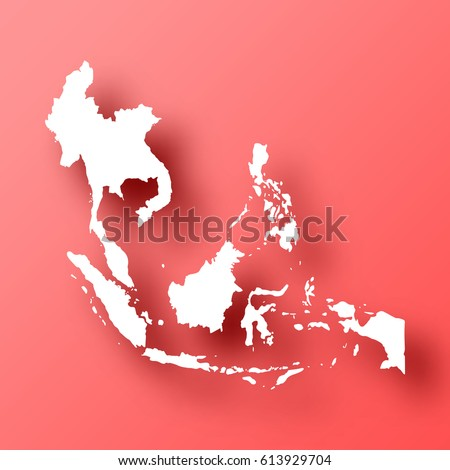 Southeast Asia Map Isolated On Red Stock Vector Royalty Free