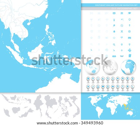 Southeast Asia Map Outline Navigation Set Stock Vector Royalty Free