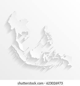 Southeast Asia Map with shadow. Cut paper isolated on a white background. Vector illustration.
