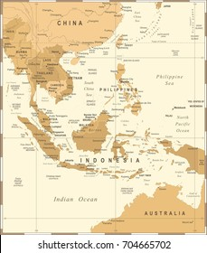 Southeast Asia Map - Vintage Detailed Vector Illustration