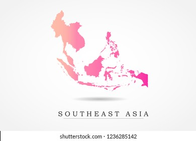 Southeast Asia Map- World Map International vector template with Pink gradient color isolated on white background - Vector illustration eps 10