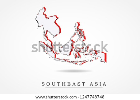 Southeast Asia Map World Map International Stock Vector (Royalty ...