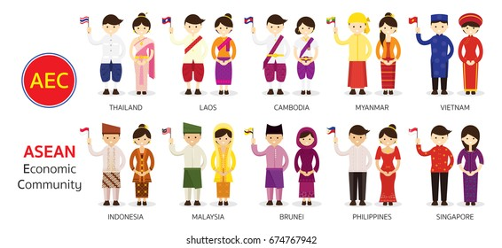 Southeast Asia People in Traditional Clothing holding Flag, AEC (ASEAN Economic Community), Men and Women