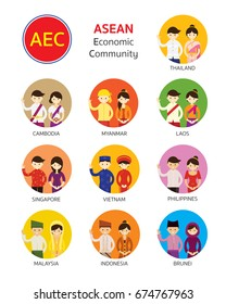 Southeast Asia People in Traditional Clothing, AEC (ASEAN Economic Community), Men and Women