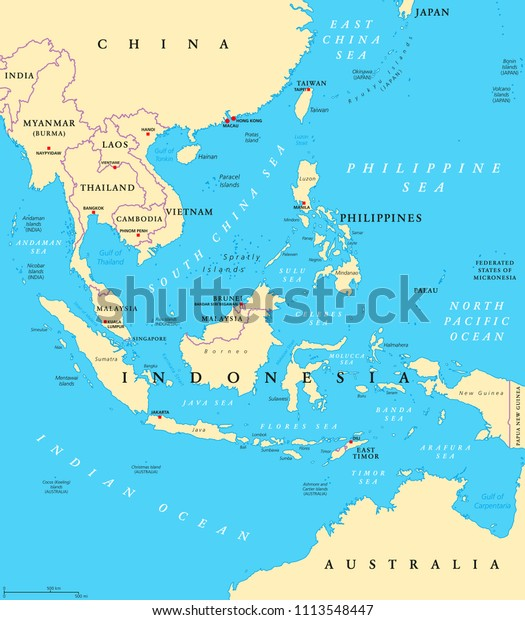 Political Map Of Asia With Capitals.Southeast Asia Political Map Capitals Borders Stock Vector Royalty