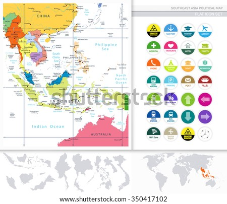 Southeast Asia Political Map Flat Icon Stock Vector Royalty Free