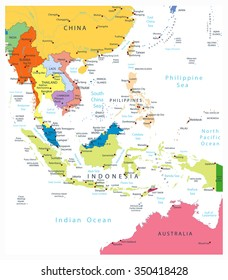 southeast asia political map isolated on white all elements are separated in editable layers clearly