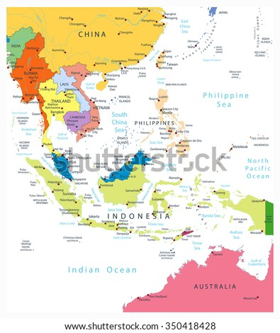 Map Of Southeast Asia And China.Southeast Asia Political Map Isolated On Stock Vector Royalty Free