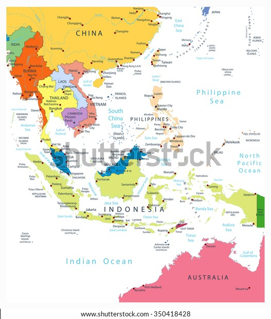 Southeast Asia Political Map Isolated On Stock Vektorgrafik