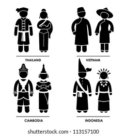 Southeast Asia - Thailand Vietnam Cambodia Indonesia Man Woman People National Traditional Costume Dress Clothing Icon Symbol Sign Pictogram