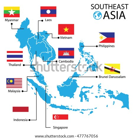 Southeast Asia World Map Vector Illustration Stock Vector (Royalty