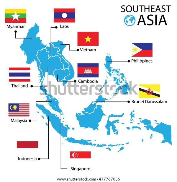 Southeast Asia World Map Vector Illustration Stock ...