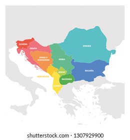 Southeast Europe Region. Colorful map of countries of Balkan Peninsula. Vector illustration.