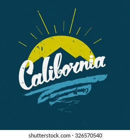 Southern California Republic. Hand Drawn Lettering. Vector vintage concept.