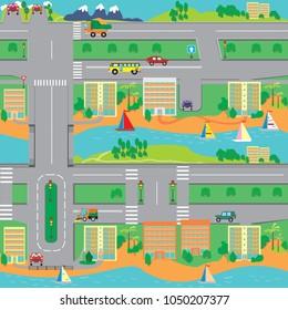 Una ciudad del sur con muchas casas, transporte y carreteras de tráfico a la izquierda. Patrón vectorial.