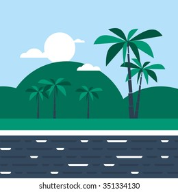 Southern land with hills and palm trees