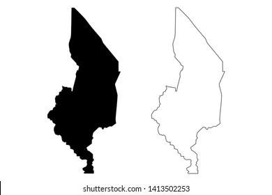 Southern Region Malawi (Republic of Malawi, Regions of Malawi, Administrative divisions) map vector illustration, scribble sketch Southern Region map