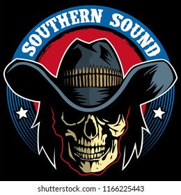 Southern rock vector logo, skull with cowboy hat vector logo.