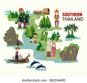 Southern Thailand travel with their culture and identity, all in the flat style, illustration, vector