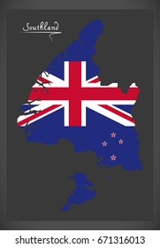 Southland New Zealand map with national flag illustration