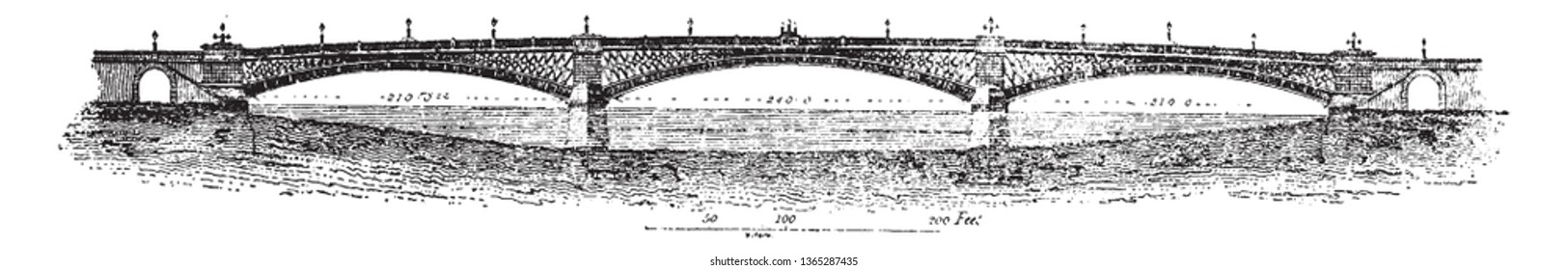 Southwark Bridge is an arch bridge in London England for traffic linking the district of Southwark, vintage line drawing or engraving illustration.