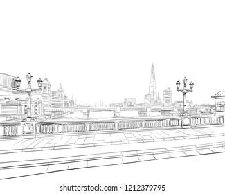 Southwark Bridge. London. England. Hand drawn sketch. Vector illustration