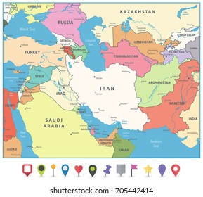 Southwest Asia Map Flat Map Markers Stock Vector (Royalty Free ...