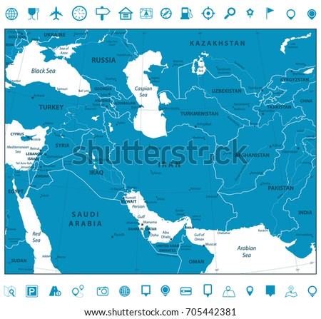 Southwest Asia Map Navigation Icons Detailed Stock Vector (Royalty ...