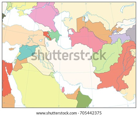 Southwest Asia Map No Text Isolated Stock Vector (Royalty Free ...