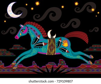 Southwest horse with Native American symbols running through desert at night under moon and stars