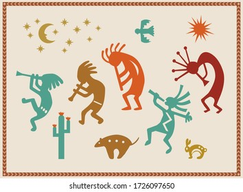 Southwest theme native american Indian icons and symbols
