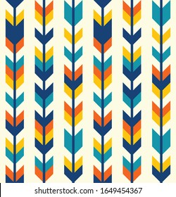 Southwestern aztec style colorful arrows rows seamless pattern in blue,teal, yellow, orange.
