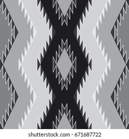 Southwestern Seamless Pattern Black and White. Vector.