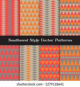 Southwestern Vector Patterns in Red, Orange and Warm Gray. Tribal Style Geometric Prints. Repeating Pattern Tile Swatches Included.