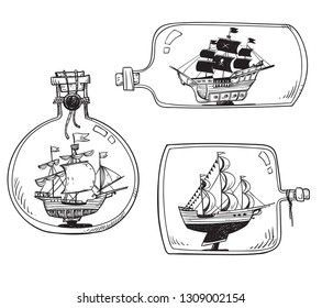 Souvenir from the sea - ship in a bottle. Set of vector drawings
