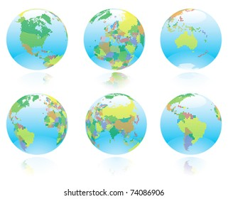 Sovereign nations  on six kinds of  World globe.