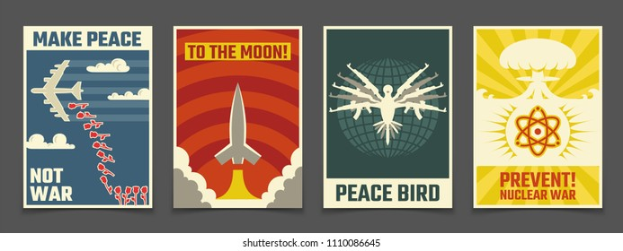 Soviet anti war, peaceful propaganda vector vintage posters. Illustration of peace bird, rocket to moon