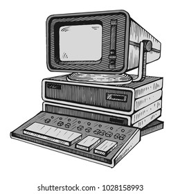 Soviet computer DVK-2. Old computer, one of the very first in SSSR. Hand drawn illustration