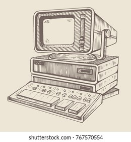 Soviet computer DVK-2. Old computer, one of the very first in SSSR. Hand drawind illustration