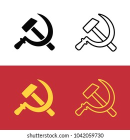 Soviet hammer and sickle icon set. Communist symbol from USSR flag. Line icon and silhouette vector clip art illustration.