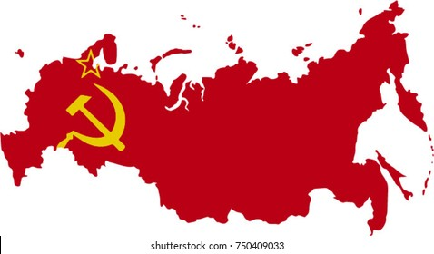 Soviet Union USSR flag map