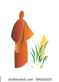 Sower sows seed simple modern abstract vector illustration or logo element.